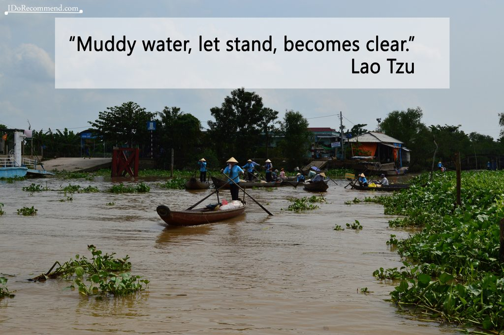 "Quote ""Muddy water, let stand, becomes clear"" (photo from Vietnam Mekong Delta)"