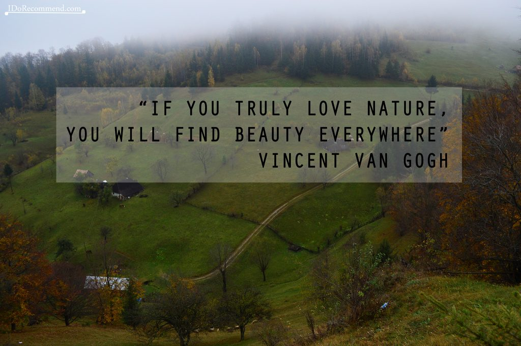 "Quote ""If you trully love nature, you will find beauty everywhere"" (photo from Romania, Magura village)"