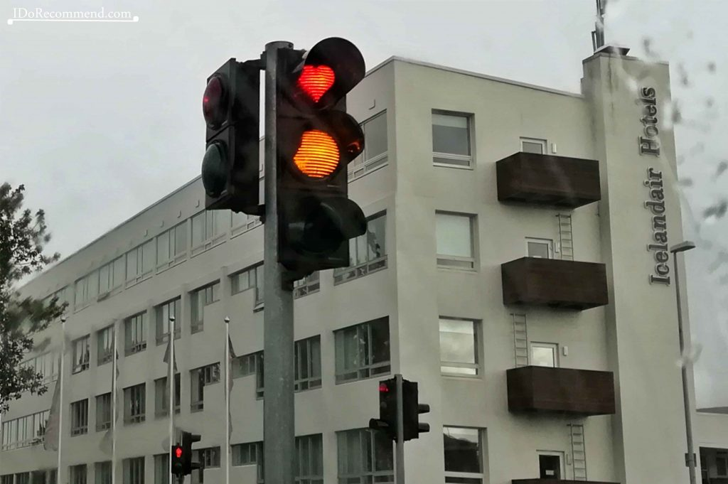 Heart-shaped red traffic lights in Akureyri