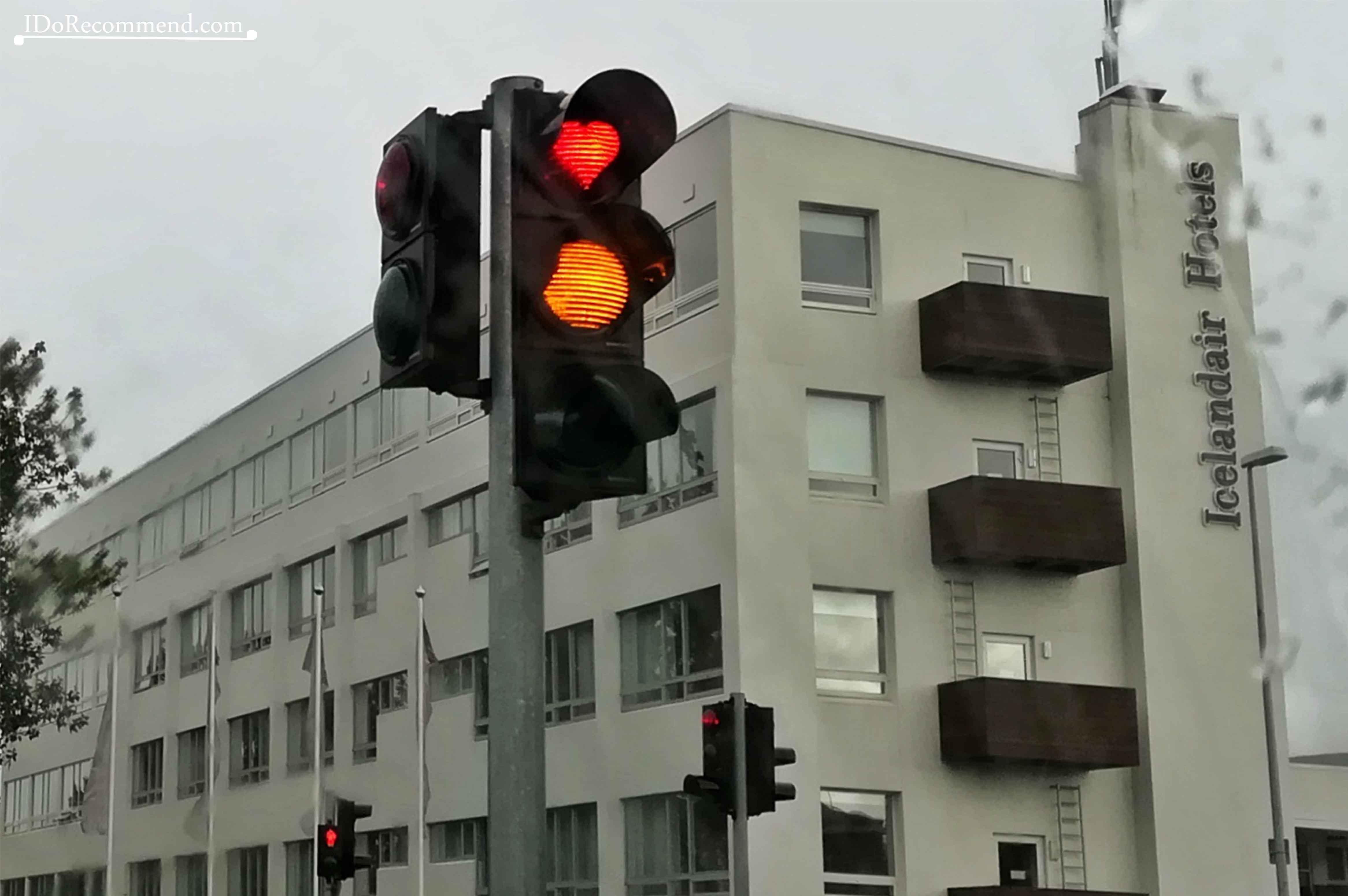 Heart-shaped red traffic lights in Akureyri